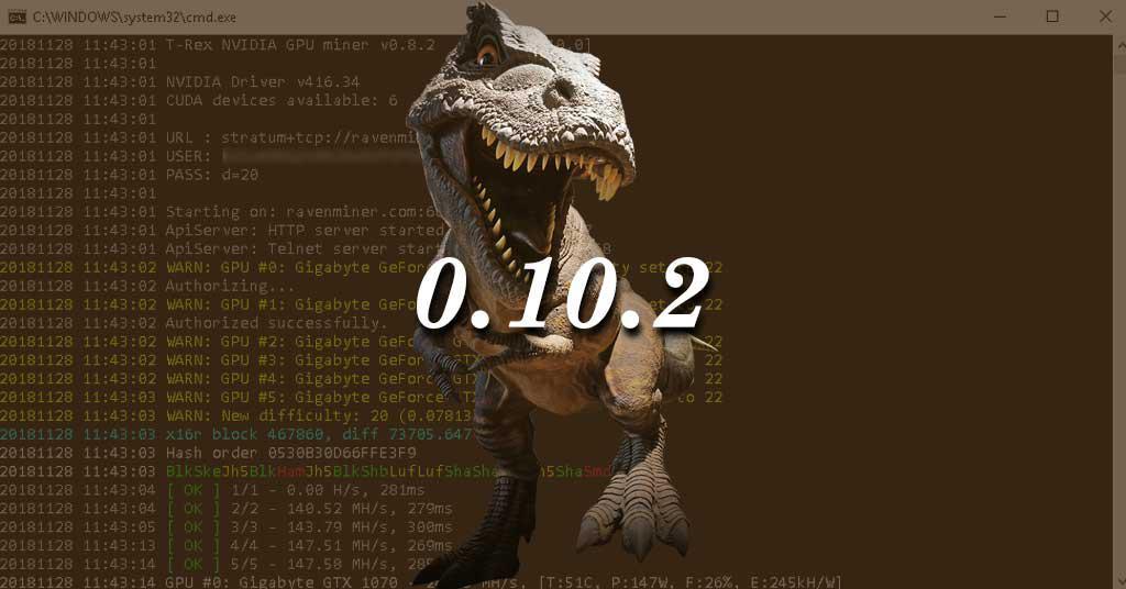 T-Rex 0.10.2 Nvidia GPU Miner