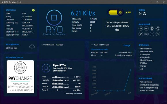 BLOC GUI Miner: mining CryptoNight CryptoNote RandomX on CPU and GPU