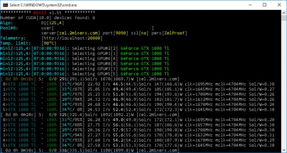 miniZ 1.5t Nvidia CUDA GPU miner for Equihash (Windows/Linux)