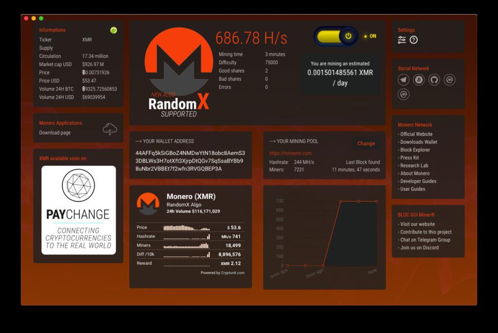 BLOC GUI Miner Monero (XMR) Mining