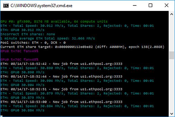 AMD Radeon RX VEGA 64 - майнинг Ethash (Ethereum ETH)