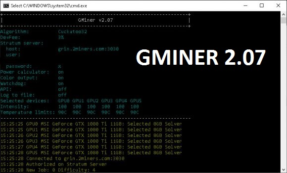 GMiner 2.07: Download With a Performance Boost for the Cuckatoo32