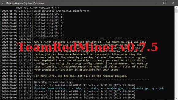TeamRedMiner 0.7.5 download AMD GPU miner для Windows/Linux
